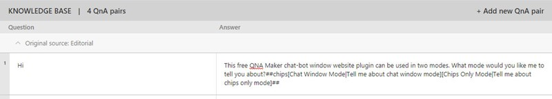 Qna Maker Chips Example